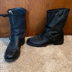 FRYE BOOTS black with buckles. Real leather